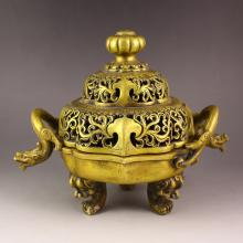 Chinese Brass Carved 3 Legs Double Ears Incense Burner