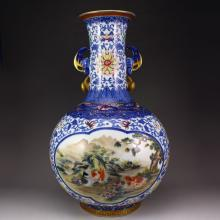 Superb Chinese Qing Dynasty Palace Hand-painted Gold Plated Blue And White And Famille Rose Double Ears Porcelain Big Vase w Qianlong Mark Sheeps. Hares