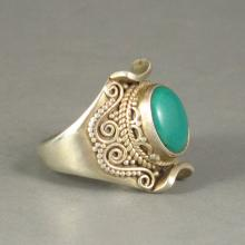Genuine 925 Silver Inlay Natural Turquoise Ring