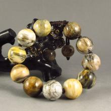 18MM Chinese Natural Fossil Wood Beads Bracelet