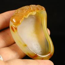 Beautiful Color Hand Carved Chinese Natural Agate Brush Washers