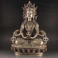 Chinese White Copper Carved Tibet Buddha Statue