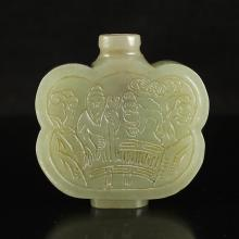 Superb Chinese Natural Hetian Jade Carved Snuff Bottle