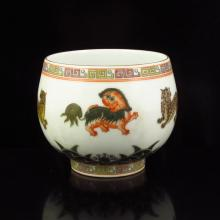 Hand Draw Chinese Gilt Edge Famille Rose Porcelain Cup w Qian Long Mark
