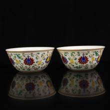 A Pair Hand-painted Chinese Famille Rose Porcelain Bowls w Chenghua Mark