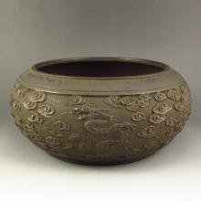 Vintage Chinese Ming Dynasty Red Copper Carved Lucky Dragon Propitious Cloud Big Brush Washer