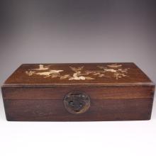 Vintage Chinese Natural Zitan Wood Inlay Shell Jewel Box