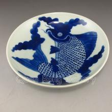 Chinese Blue And White Porcelain Plate w Fish