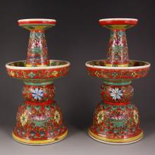 A Pair Chinese Enamels Porcelain Candlestick w Qianlong Mark
