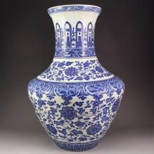 Hand-painted Chinese Blue And White Porcelain Big Vase w Marked