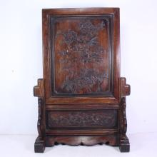 Superb Chinese Natural Zitan Wood Carved Phoenix & Peony Screen
