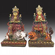 Two Chinese Tibet Buddhism Temple Costful Purple Bronze Colored Bodhisattva / Buddha Statue