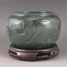 Hand Carved Chinese Natural Deep Green Hetian Jade Brush Washer