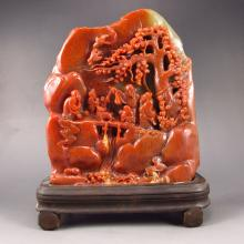 Superb Hand Carved Chinese Natural Shoushan Stone Statue - Deep Mountains Visit Friends