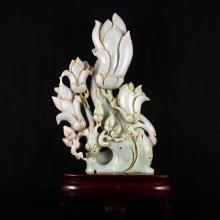 Superb Hand Carved Natural Jadeite / Jade Statue - Yulan Magnolia Flower