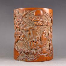 Hand Carved Chinese Bamboo Brush Pot w Poet & Pine Tree