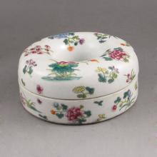 Hand-painted Chinese Famille Rose Porcelain Box w Mark