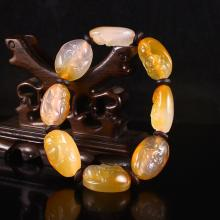 Hand Carved Chinese Natural Agate Long Life Old Man Head Bracelet