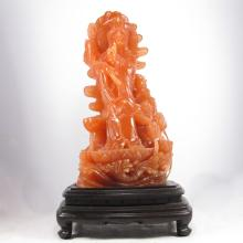 Superb Hand Carved Chinese Natural Shoushan Stone Statue - Lotus Flower Kwan-yin