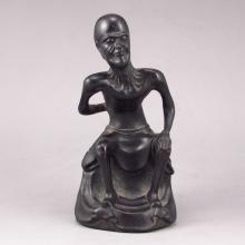 Hand-carved Chinese Natural Ebony Wood Statue - Old Man