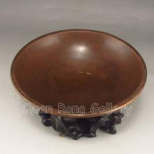 Chinese Bronze Bowl Carved w Magpie Flowers & Mark