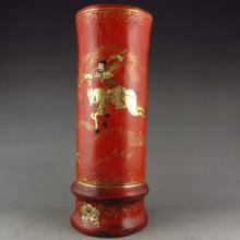 Used Vintage Chinese Lacquer Hardwood Brush Pot w Man & Horse