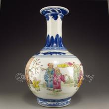 Hand-Painted Chinese Famille Rose Porcelain Vase w Yongzheng Mark