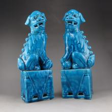 A Pair Chinese Blue Glaze Porcelain Statue - Foo Dogs