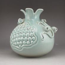 Hand-carved Chinese Light Blue Glaze Porcelain Pomegranate Pot w Mark