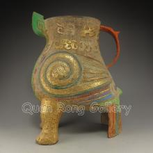 Chinese Brass Carved 3 Legs Incense Burner w Fortune Beast
