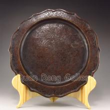 Hand Carved Chinese Bronze Carved Flower Plate