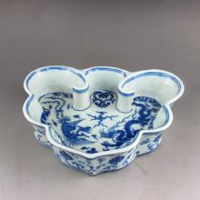 Fine Ming Dynasty Style Blue And White Porcelain Brush Washer