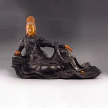Vintage Hand-carved Chinese Ebony Wood Inlay Shoushan Stone Statue - Kwan-yin