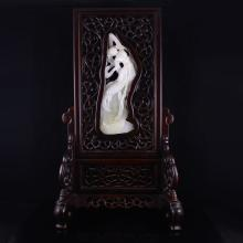 Superb Hollow-out Carved Chinese Sanders Wood Inlay Natural White Hetian Jade Screen w Dance Girl