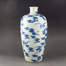 Hand-painted Chinese Blue And White Porcelain Vase w Kang Xi Mark