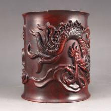 Hand Carved Chinese Natural Hua Li Wood Brush Pot w Dragon