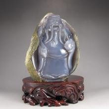 Hand Carved Chinese Natural Water Bile Agate Statue - Long Life Old Man
