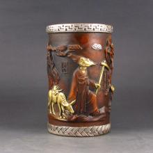 Chinese Red Bronze Carved Brush Pot w Medical Sages