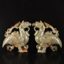 A Pair Vintage Chinese Natural Hetian Jade Inlay Silver Wire Statue - Dragons & Phoenixes