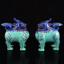 A Pair Chinese Gilt Gold Blue Glaze Porcelain Unicorn Statues