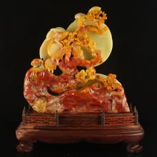 Chinese Natural Shoushan Stone Statue - Magpie & Plum Flower Free Certificate