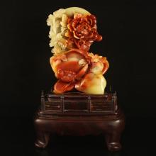 Superb Chinese Natural Shoushan Stone Statue - Magpie & Peony