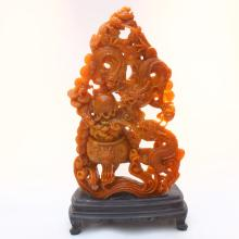 11 kg Hollow Out Carved Chinese Natural Shoushan Stone Fortune Dragons & Fireball Statue