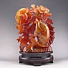 Beautiful Superb Hand Carved Chinese Natural Agate Statue - Fish & Lotus