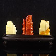 A Set Chinese Natural Shoushan Stone Carved Bamboo Statue
