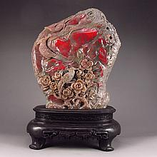 Big Superb Hand Carved Chinese Chicken Bloodstone Statue w Magpies & Flower