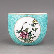 Hand-painted Chinese Gold-plating Blue Ground Pahua Famille Rose Porcelain Cup w Qian Long Mark & Flower