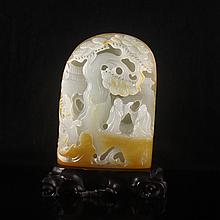 Hand-carved Chinese Natural Hetian Jade Statue - Sages & Pine Tree