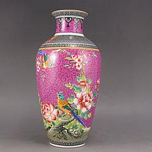 Hand-painted Chinese Pahua Famille Rose Porcelain Vase w Yong Zheng Mark & Flower Magpies