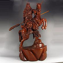 Hand Carved Chinese Natural Hua Li Wood Statue - Martial Guangong